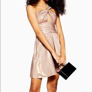 Foil Twist Shoulder Mini Dress